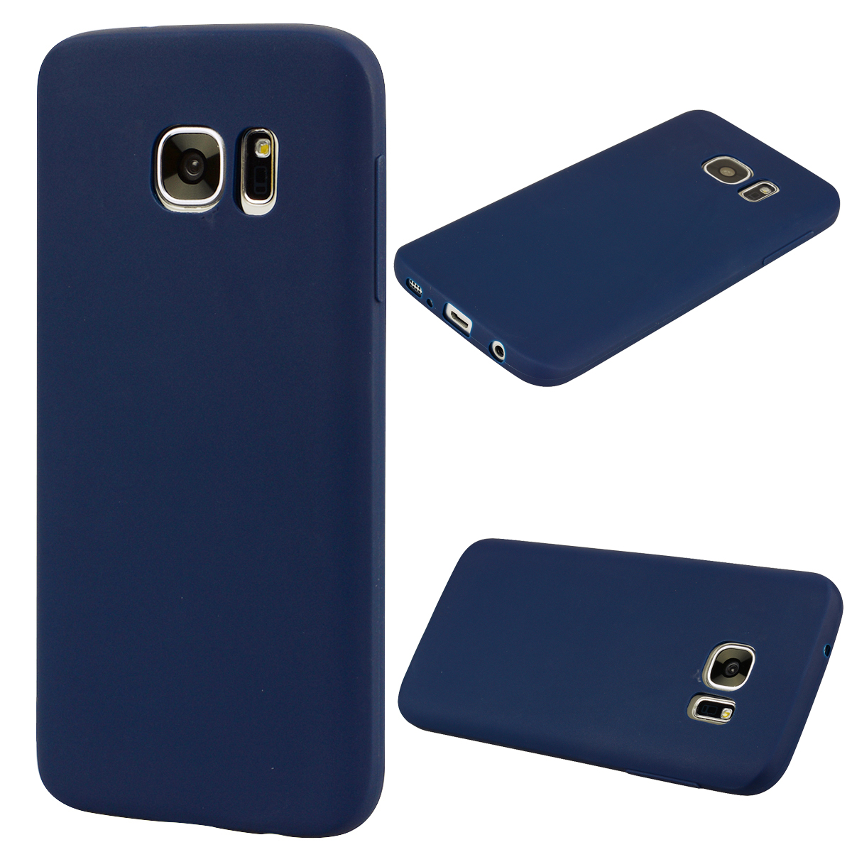 for Samsung S7 Cute Candy Color Matte TPU Anti-scratch Non-slip Protective Cover Back Case Navy