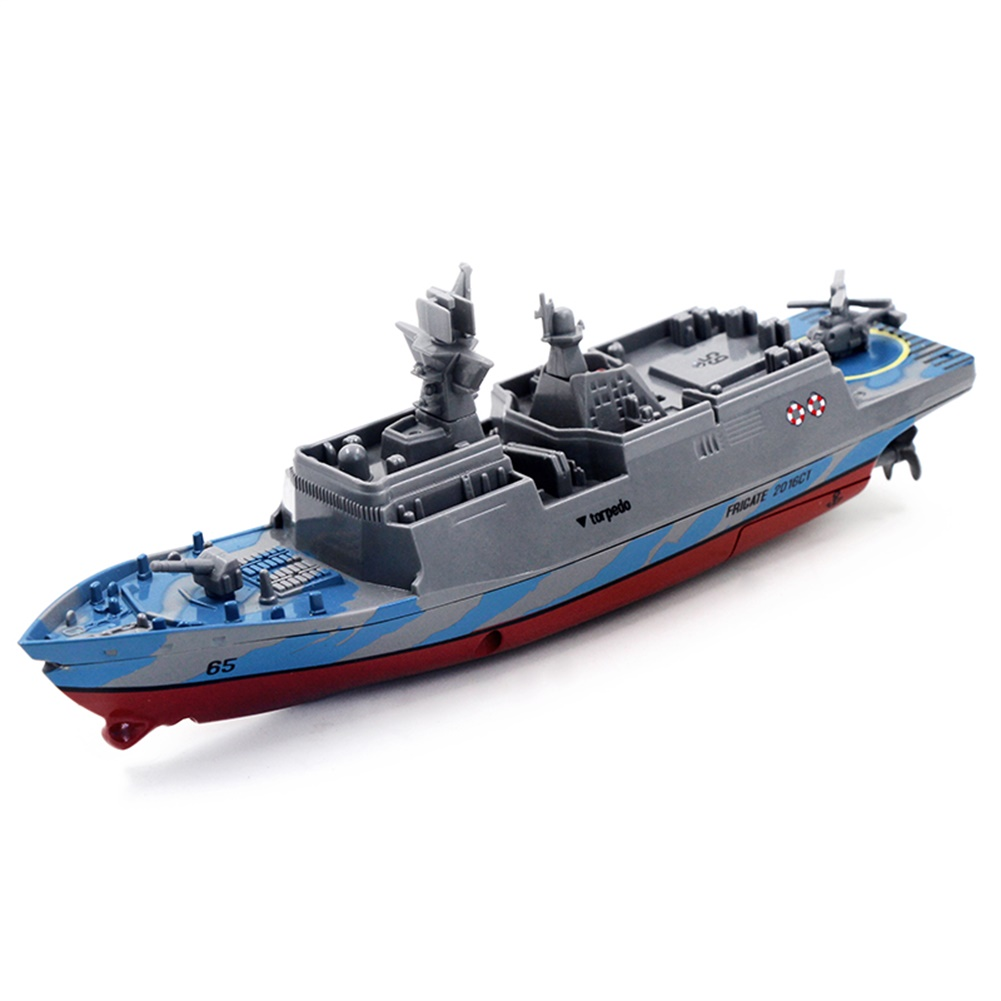 2.4G Remote Control Military Warship Model Electric Toys Waterproof Mini Aircraft Carrier/Coastal Escort Gift for Kids  Gray coastal escort