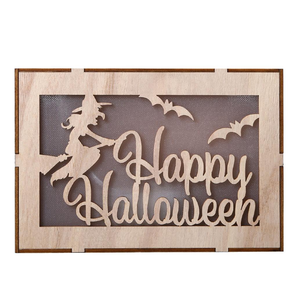 Wooden Hollow Hanging Pendant Pumpkin Haunted House LED Lights 3D Halloween Party Decoration Crafts JM01503