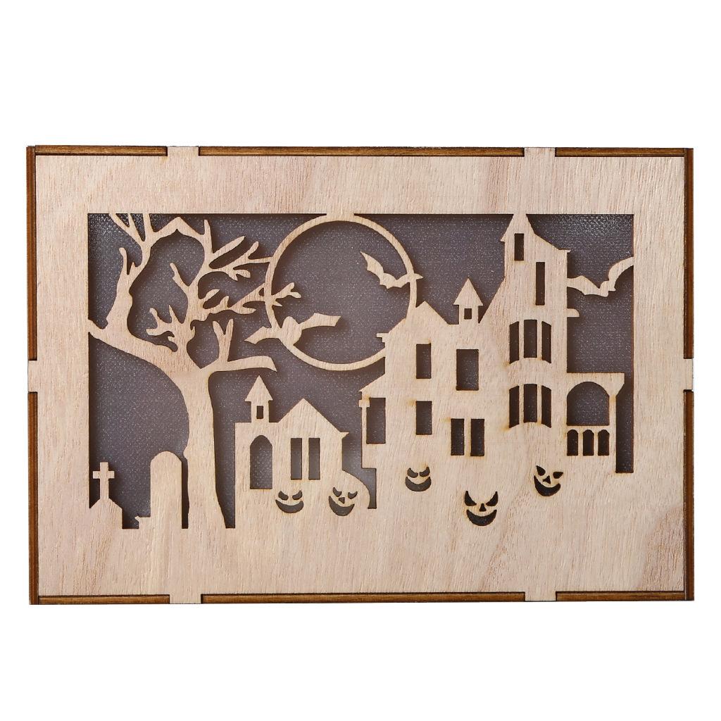 Wooden Hollow Hanging Pendant Pumpkin Haunted House LED Lights 3D Halloween Party Decoration Crafts JM01504