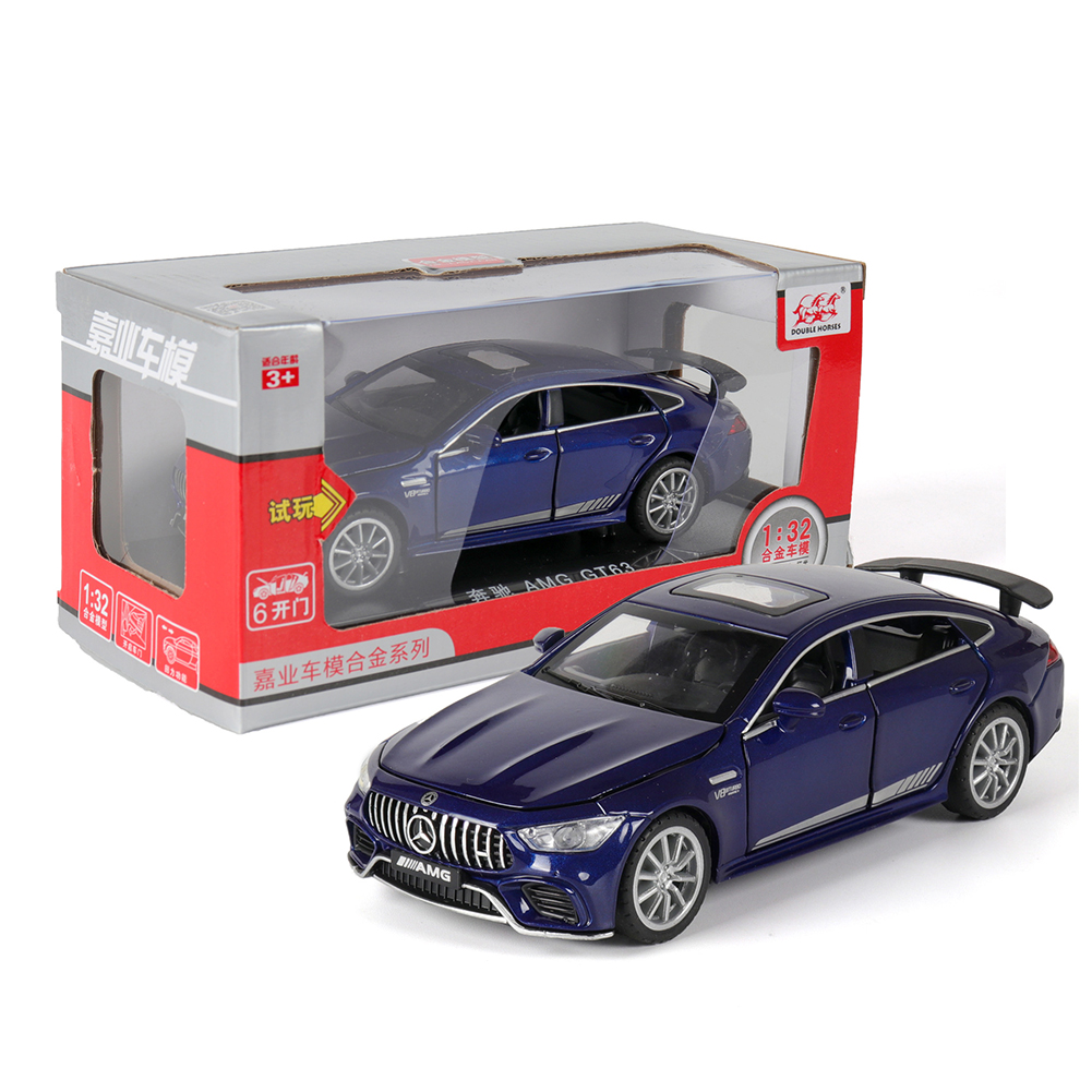 1:32 Simulation Racing Car Model Light Sound Effect Doors Open Alloy Pull Back Auto Toy Gift Collection blue