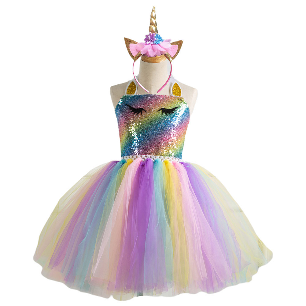 2pcs/set Girls Dress Colorful Sequins Animal Gauze Party Dress Headdress Suits for 2-7 Years Old Kids SX-HD93324