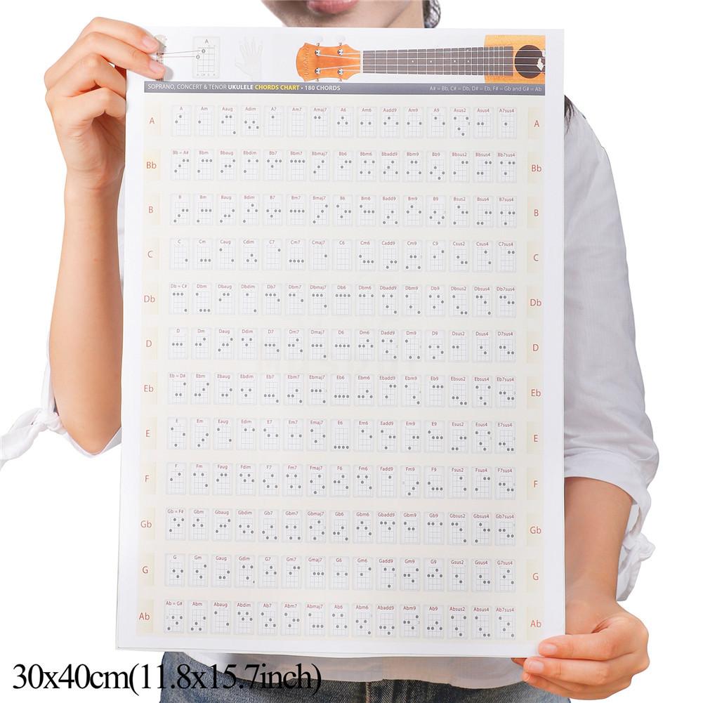 Ukulele Chord Chart Fretboard Chord Chart Poster Ukelele Uke Music Educational 30x40cm