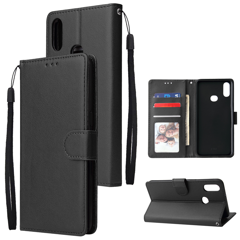 For Samsung A10S A20S Cellphone Cover Mobile Phone Shell Buckle Closure Cards Slots PU Leather Smart Shell with Wallet Overall Protection black