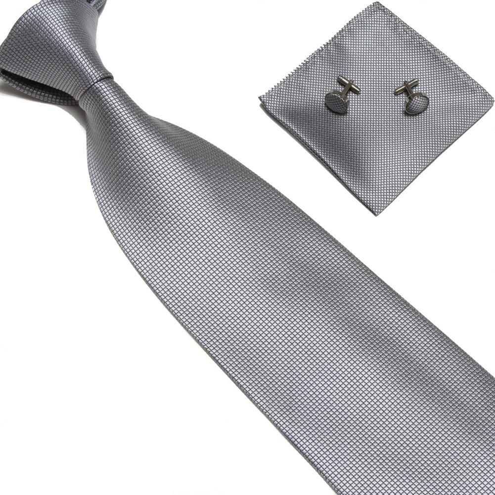 4Pcs Men Silk Necktie Tie Pocket Square Cufflinks Set Valentine's Day Gift 8 # light gray