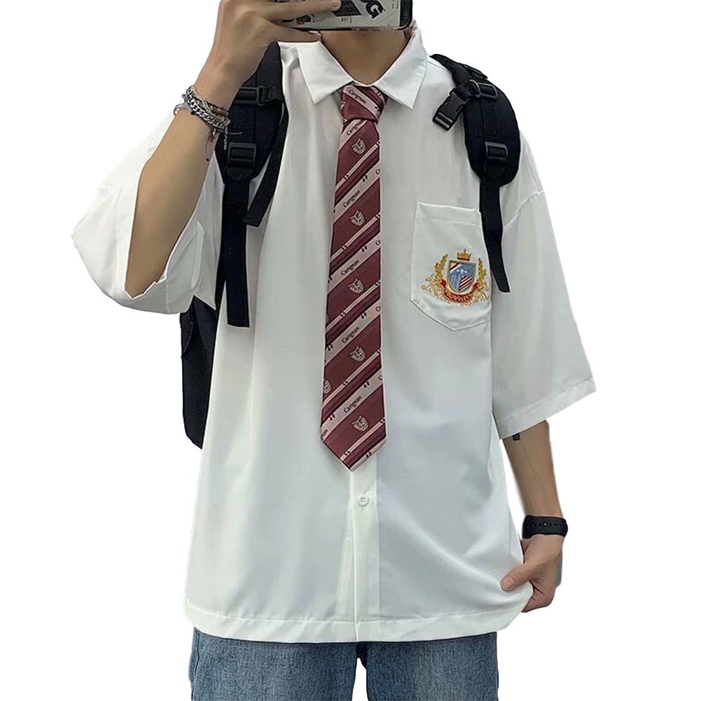Men's Shirt Summer All-match Loose Short-sleeve Uniform Shirts with Tie White _M