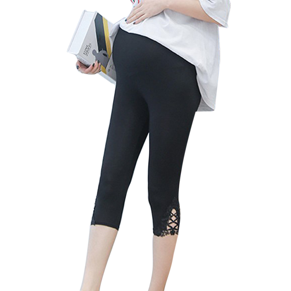 Maternity Leggings Modal Lace Adjustable Spring Summer Pregnant Women Trousers  black_L