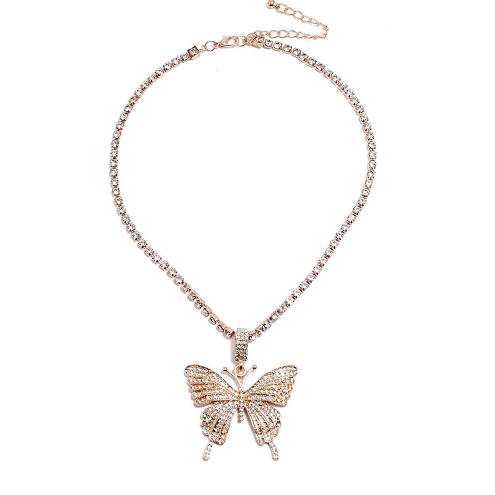 2 Pcs/set Women's Necklace Ins Style Butterfly-shape Diamond-mounted Double-deck Necklace Golden set