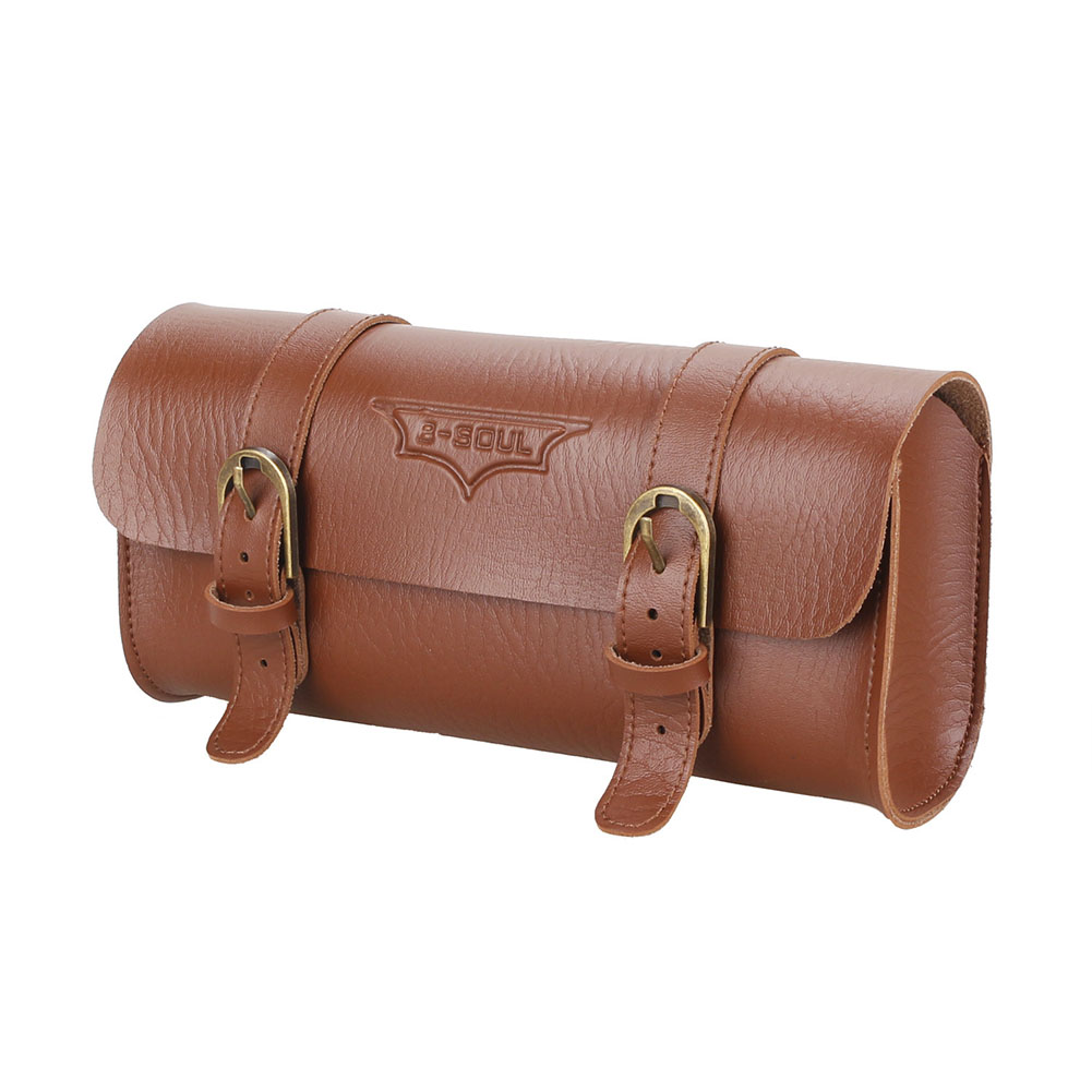 Retro Bicycle Tail Bag PU Leather Cycling Bike Handlebar Saddle Bag Tail Pouch Holder brown_22 * 9.8 * 6CM