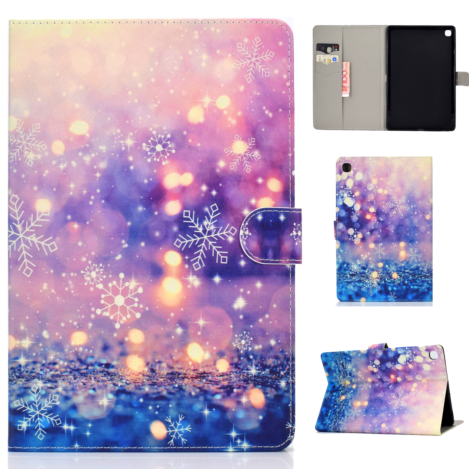 For Samsung T720/T725 Laptop Protective Cover Cartoon Color Painted Smart Stay PU Cover with Front Snap Purple quicksand
