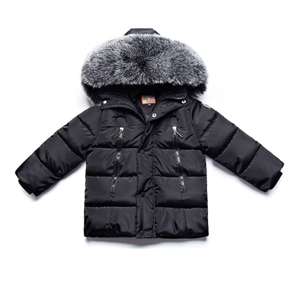 Winter Kid Thicken Cotton Hoodie Coat Furry Collar Zipper Boy Girl Overcoat black_100cm