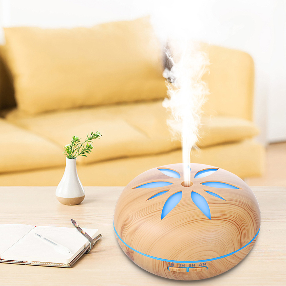 7 colour wood grain humidifier Household Air Humidifier Colorful Lights Air Purifying Mist Maker Light wood grain (no remote control)_European regulations