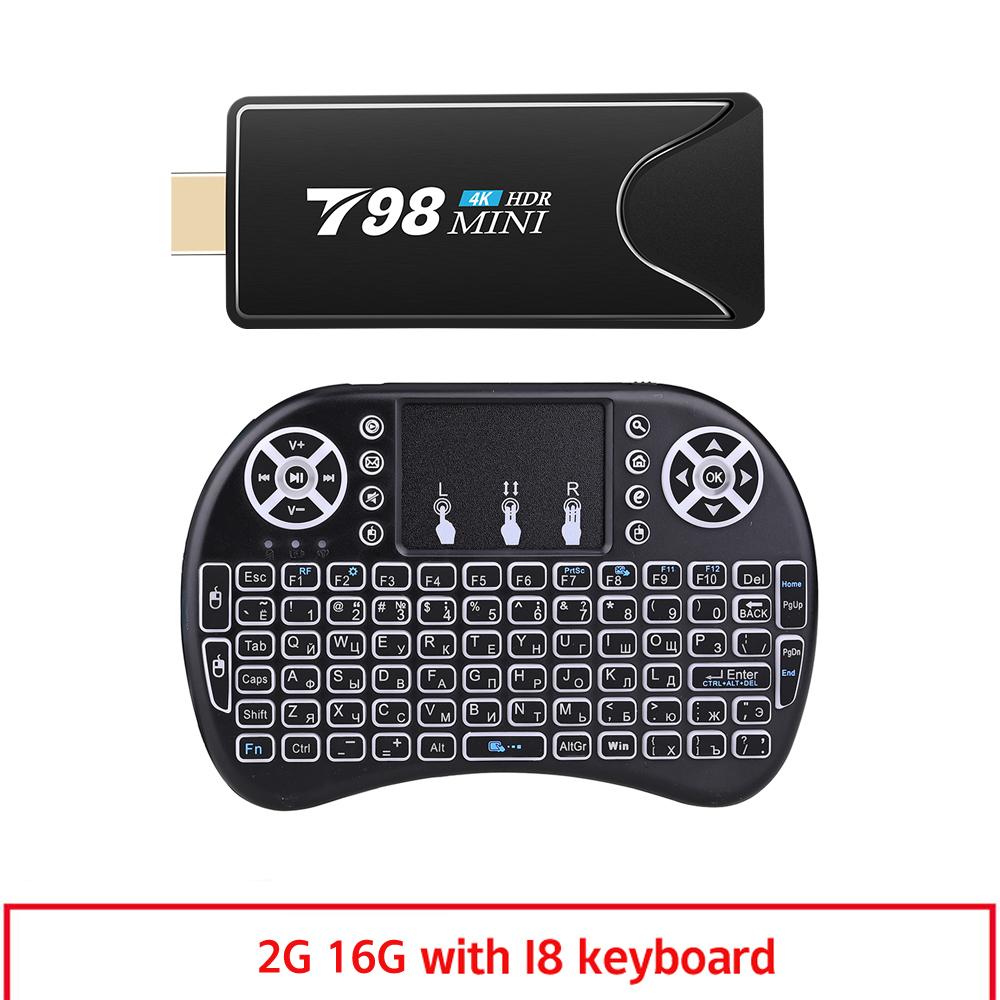 Mini Tv  Stick  Box Tv T98 Mini Tvbox Rk3318 Android10.0 Tv  Box Media Player Tv Receiver 2+16g 2+16G_US plug+I8 Keyboard