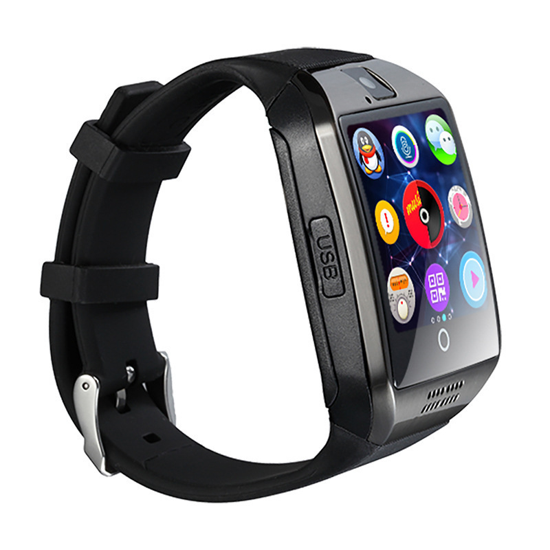 Bluetooth Smart Watch Men Q18 With Touch Screen Big Battery Support TF Sim Card Camera for Android Phone Smartwatch black