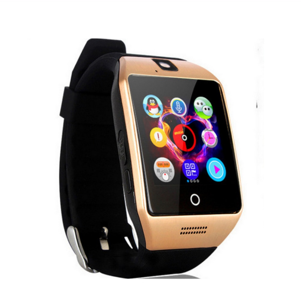 Bluetooth Smart Watch Men Q18 With Touch Screen Big Battery Support TF Sim Card Camera for Android Phone Smartwatch Gold