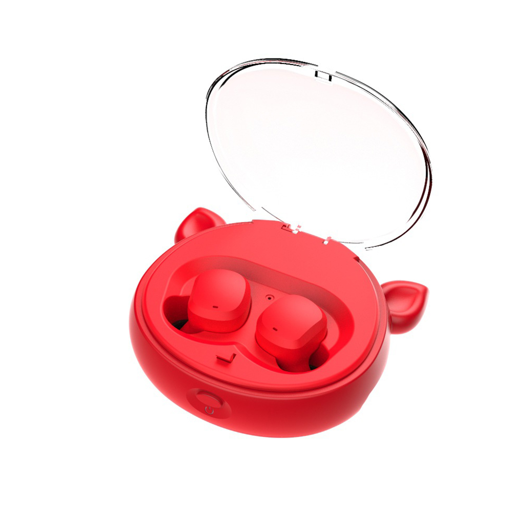 Wireless Headphone TWS Binaural Running Sports 5.0 Earphone Cartoon Style Subwoofer Bluetooth Headset Red