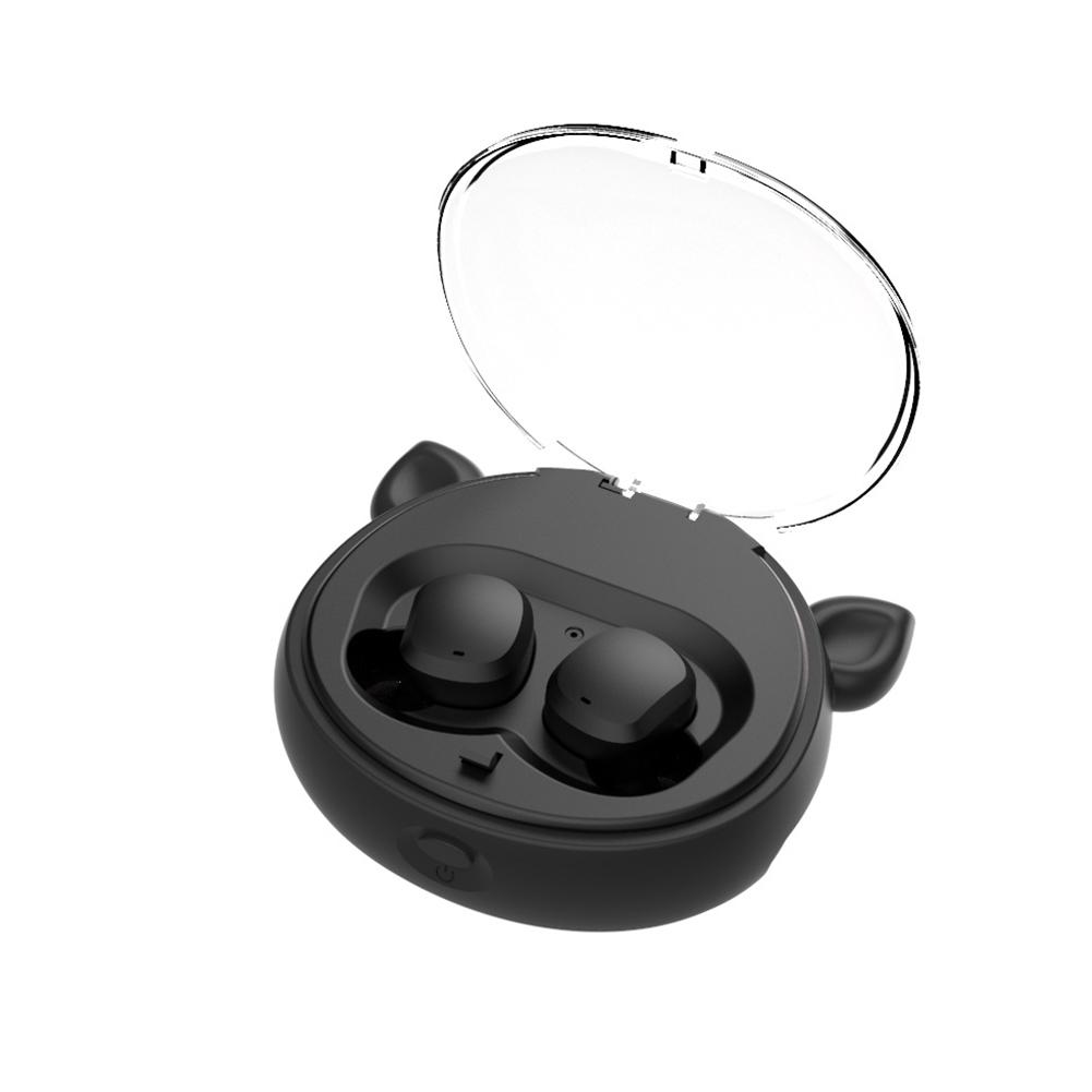 Wireless Headphone TWS Binaural Running Sports 5.0 Earphone Cartoon Style Subwoofer Bluetooth Headset Black