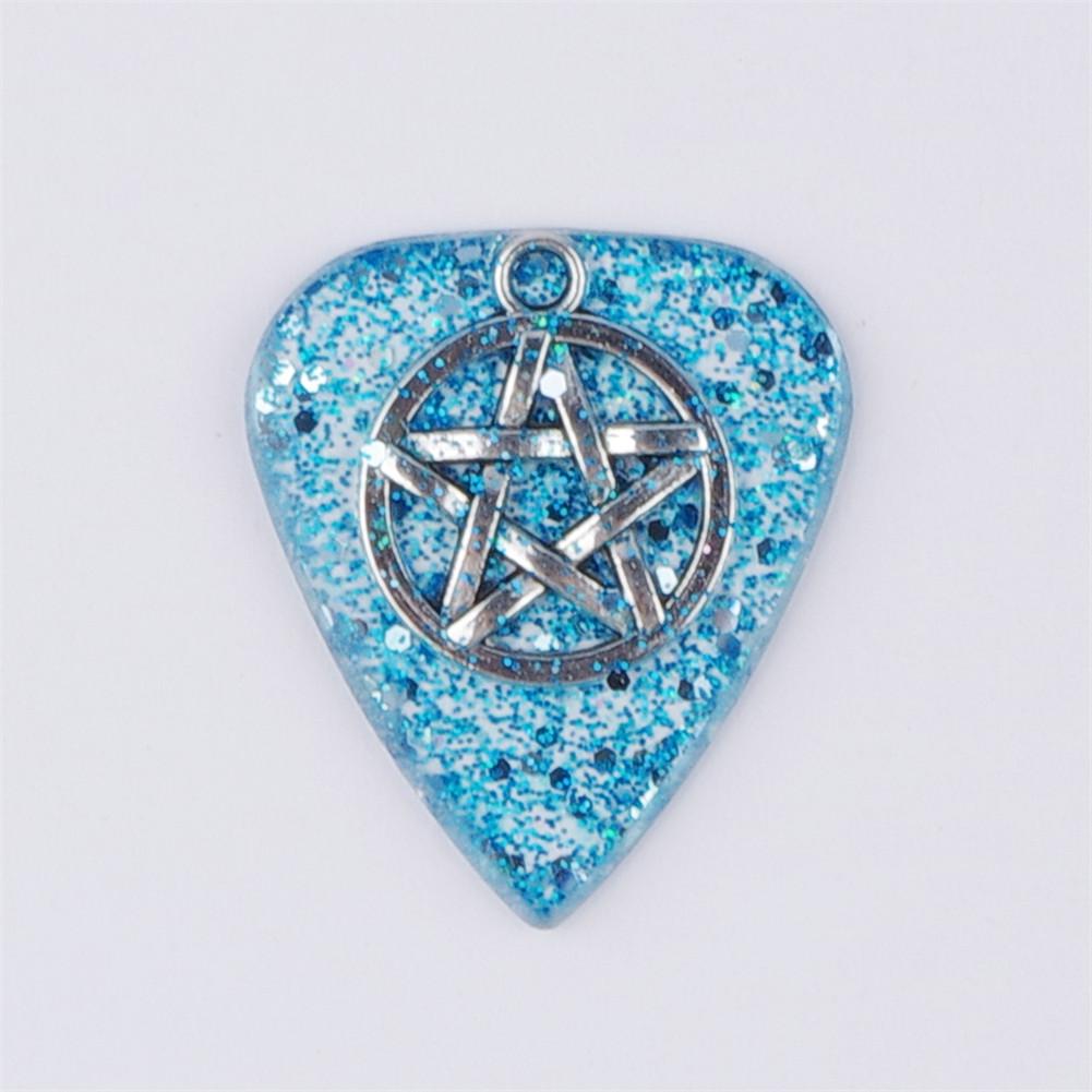 Handmade Guitar Pick Transparent Exquisite DIY Guitar Pick Necklace Thickness 1.5mm Resin Metal 3*2.5*0.15cm Blue pentagram