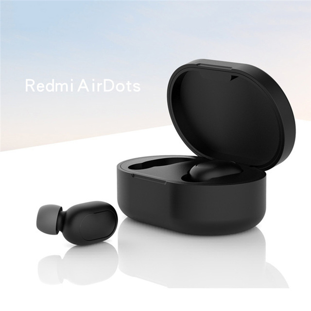 Silicone Protective Cover Earphone Case for Xiaomi Redmi Airdot TWS Bluetooth Earphone Fashion Version Wireless black