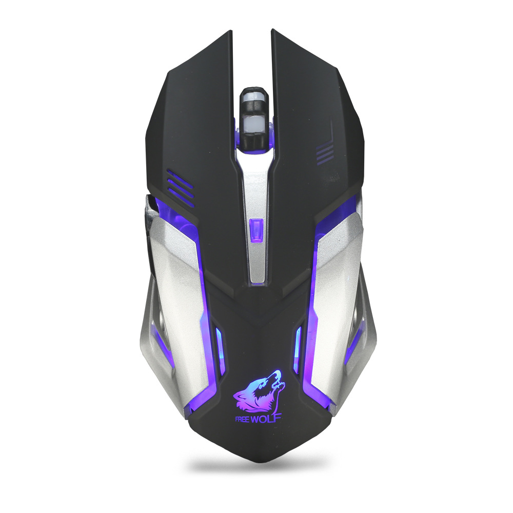 X7 Wireless Mouse Rechargeable Mute Light Gaming Optical Mouse for Computer Laptop black