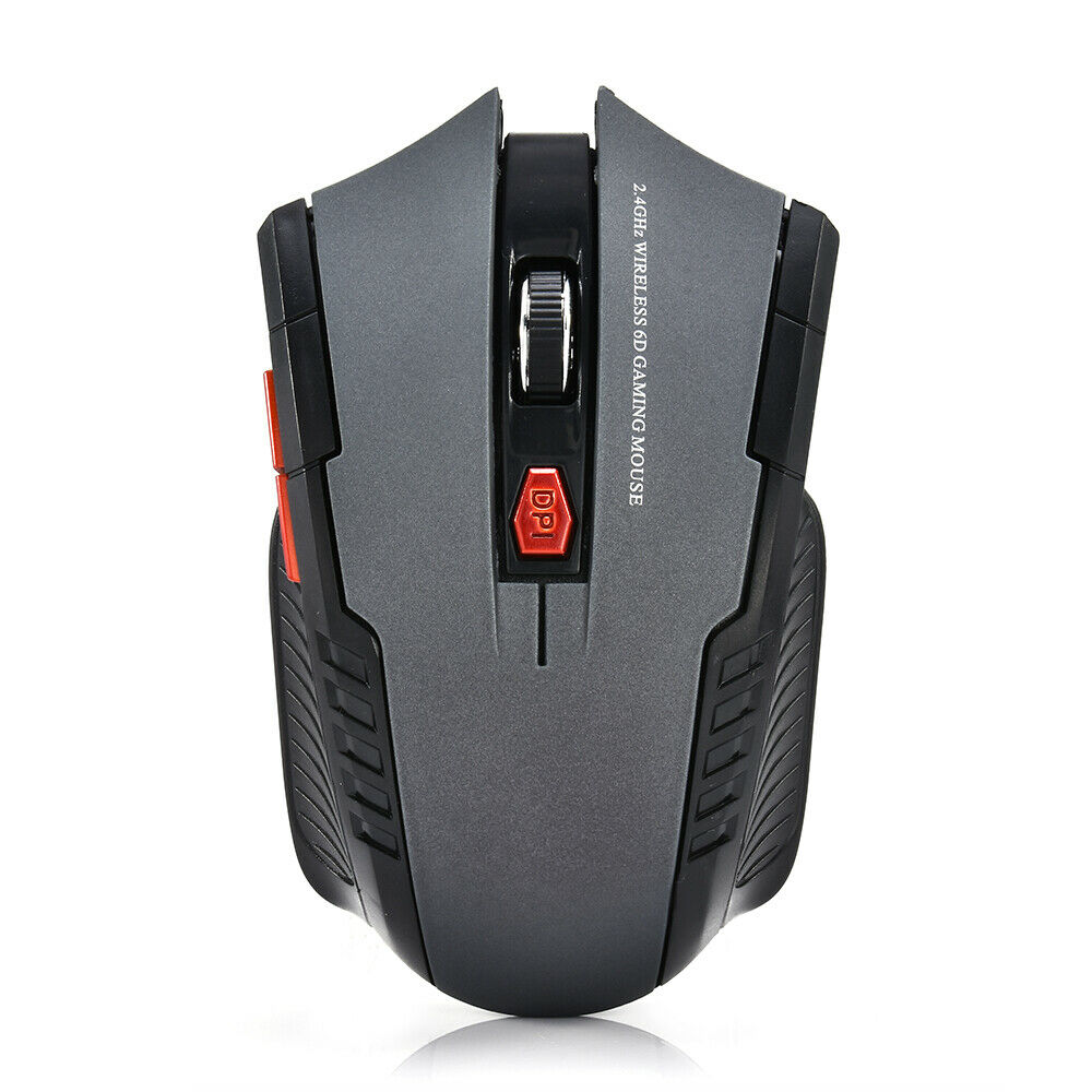 USB 2.4GHz Wireless Optical Mouse Ergonomic 6 Key Mouse for Computer Laptop gray_Blister packaging