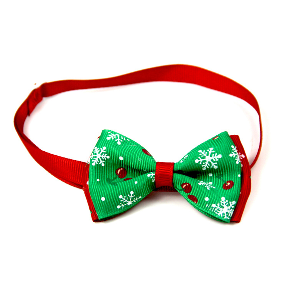 Christmas Series Bowknot Size Adjustable Collar for Pet Dog Teddy Supplies As shown_6#