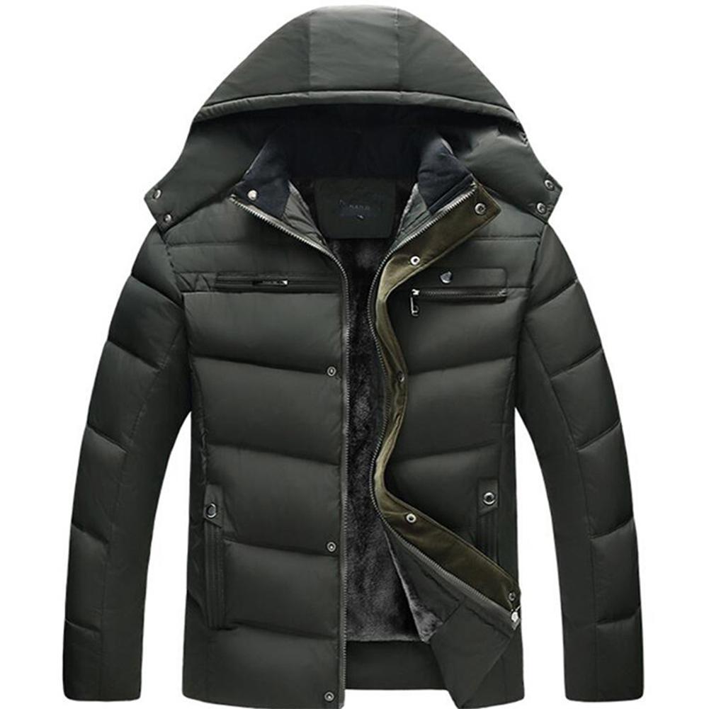 Men's and Women's Cotton Coat Winter Slim-fitting Cotton Jacket olive green plus velvet_XL