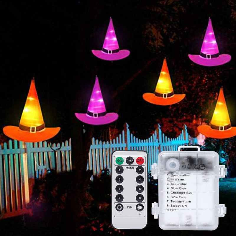 Glowing Witch Hat String Light for Halloween Ghost Festival Decoration Lamp 8 pcs witch hats + remote water proof box