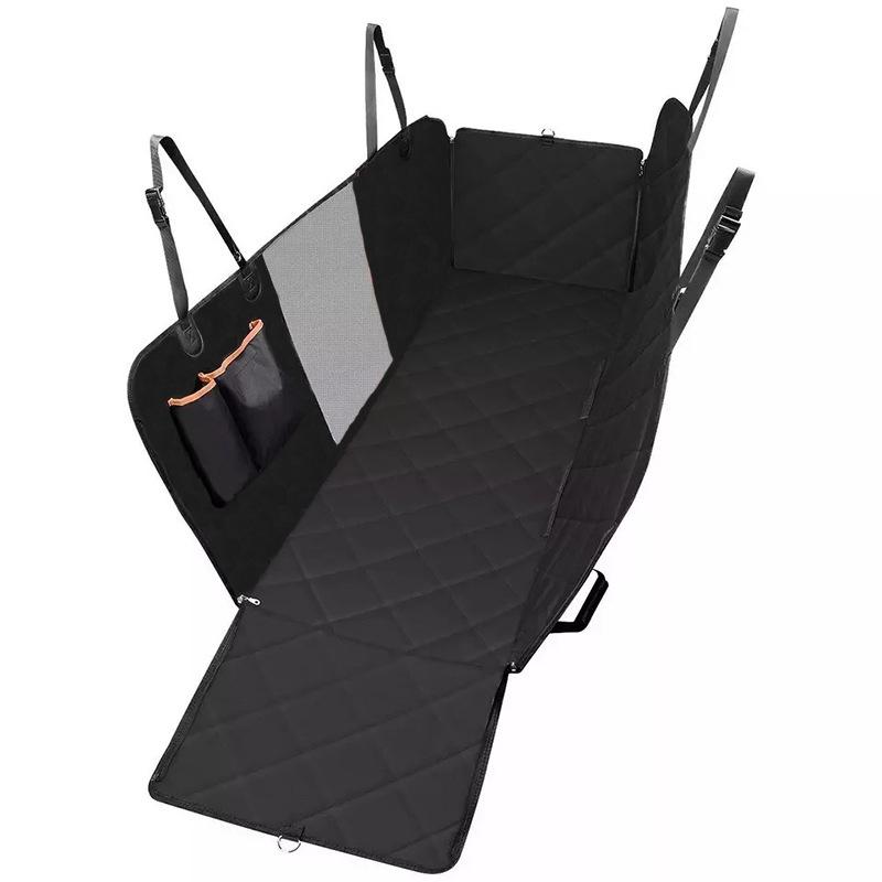 Car Rear Seat Cushions with Mesh Bag Lanyard for Pet Cat Dog Car Travel black
