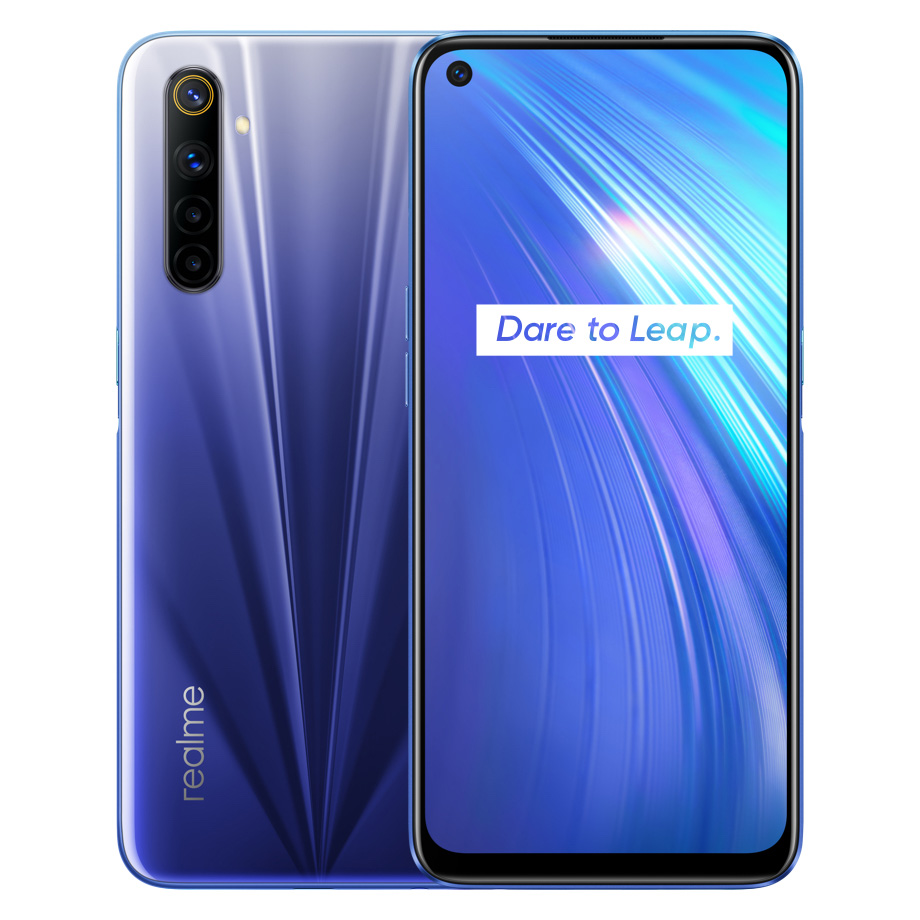 REALME 6 Global Version 4GB 128GB 6.5Inch Moblie Phone Helio G90T Octa Core 64MP Quad Camera Cellphone 430mAh 30W EU Charger blue