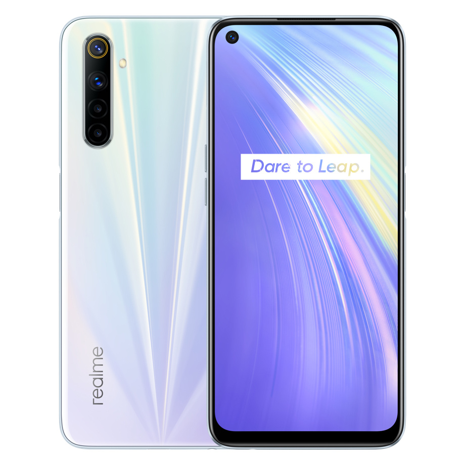 REALME 6 Global Version 4GB 128GB 6.5Inch Moblie Phone Helio G90T Octa Core 64MP Quad Camera Cellphone 430mAh 30W EU Charger white