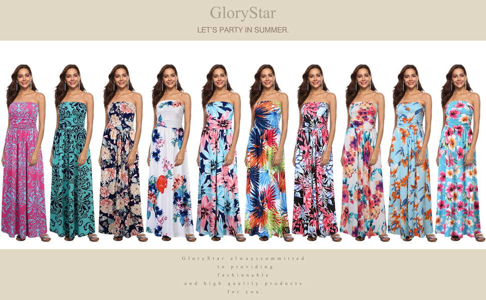 Liebeye Women Wrap Chest Casual Floral Dress Empire Waist Strapless Sleeveless Maxi Dress Long Skirt for Party Summer Beach Sapphire_M