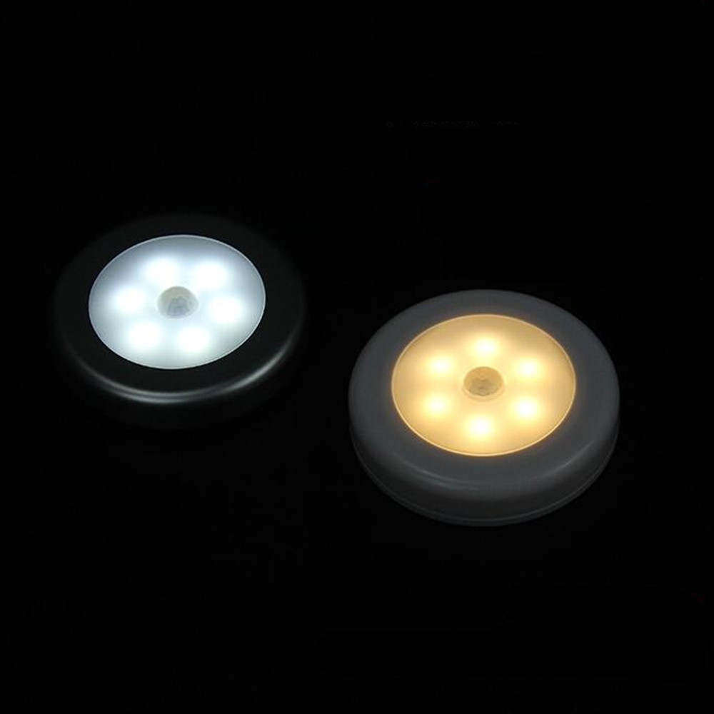 6LEDs 1W White Motion Sensor Closet Lights for Hallway Bathroom Bedroom Kitchen Warm white light_5PCS