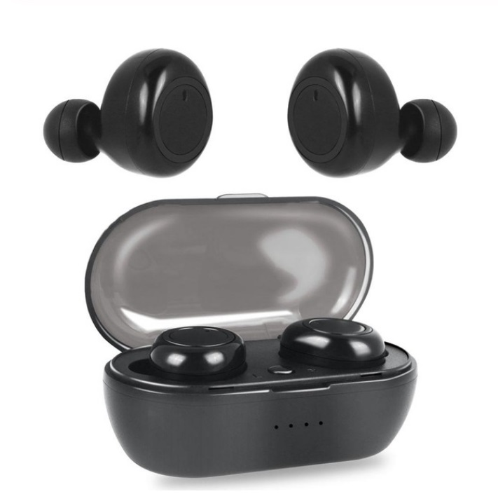 W12 TWS Wireless Earphone for IOS Android Mobile Phone Bluetooth 5.0 Multi-function Sports Headphone Touch Control Earbuds with Charging Box  Black button version