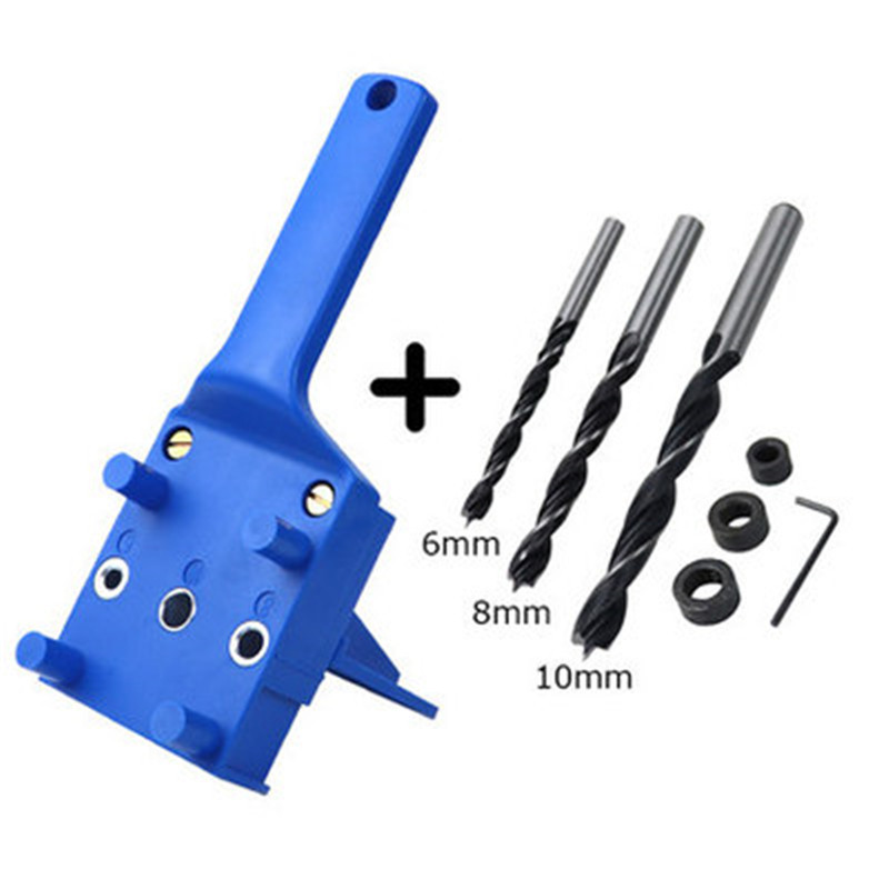 Woodworking  Dowel  Jig  Set Drill Bit Handheld Saw Drills Guide Hole Locator For Carpentry Blue 8-piece set