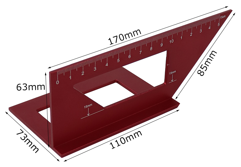 45/90 Degrees Woodworking Scriber T Angle Ruler Protractor Marking Gauge Multifunctional Woodworking Tools red