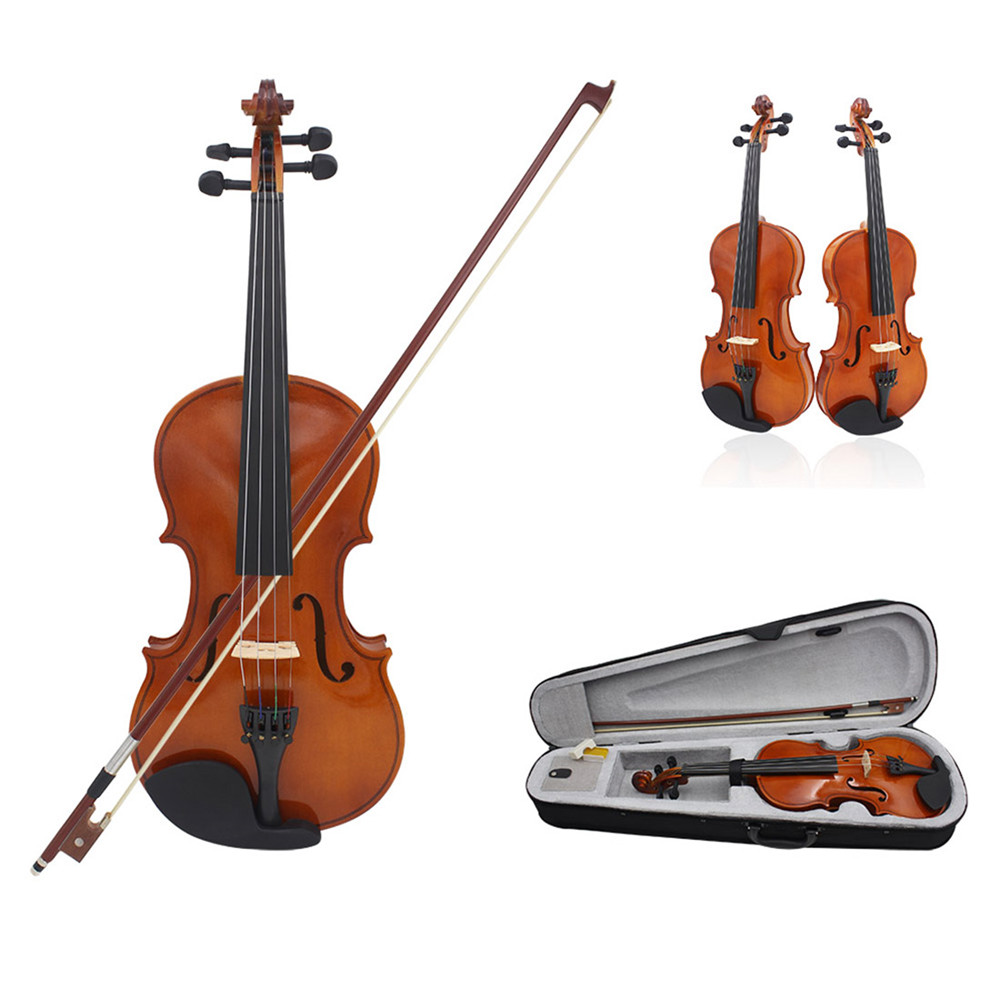 81.0*26.0*12.0cm Violin Natural Acoustic Solid Wood Spruce Flame Maple Veneer Violin Fiddle with Cloth Case Rosin Sets 4/4