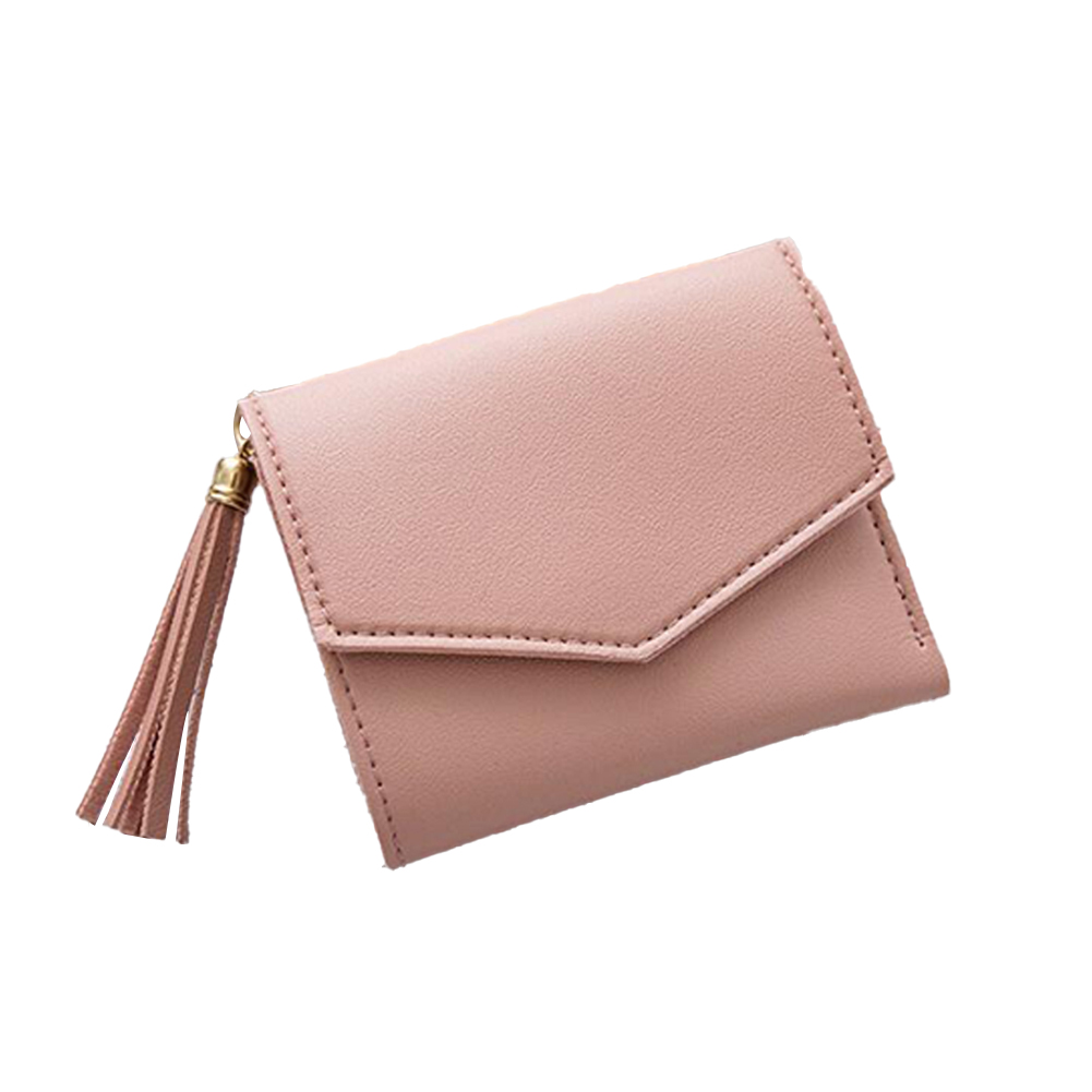 Women Short Wallet 3-folds Tassel Solid Color PU Leather Magnetic Buckle Square Purse Pink