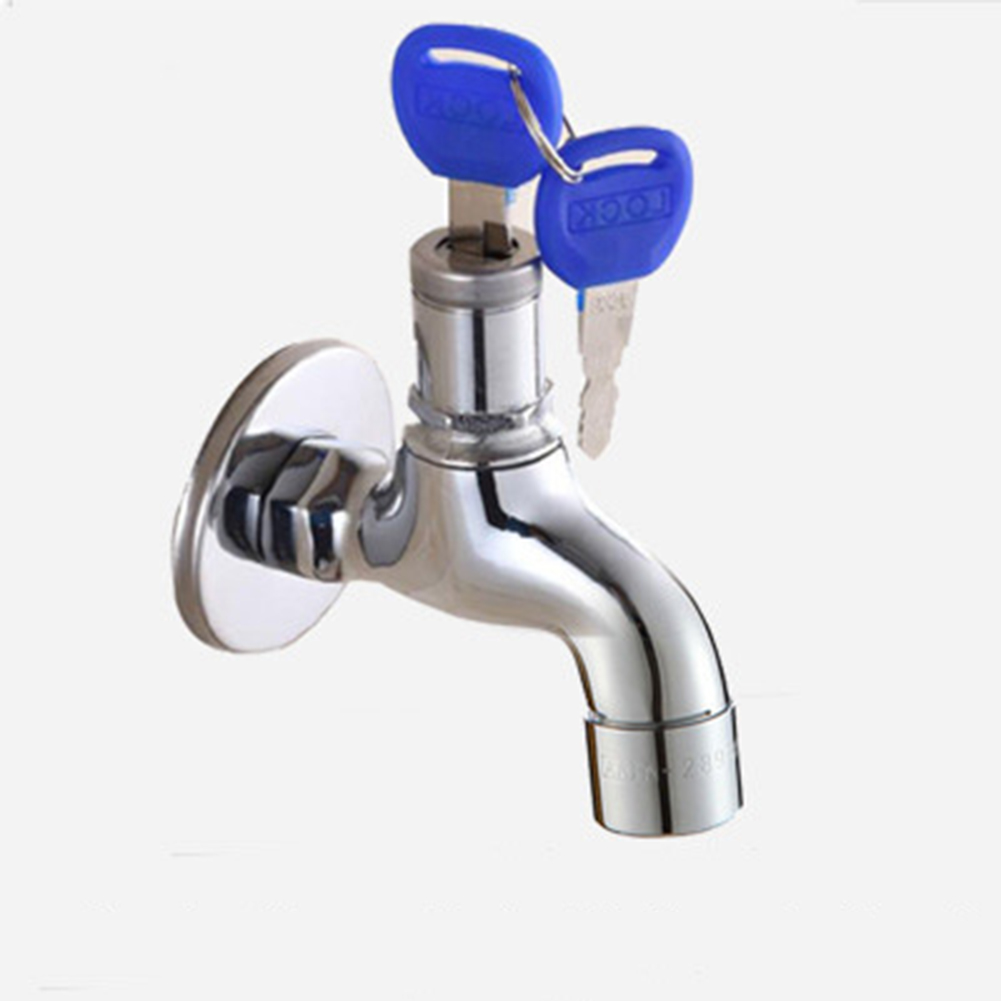 Home Outdoor Guard Against Theft Faucet Bib Lock with Keys for Washing Machine  Alloy mop pool faucet