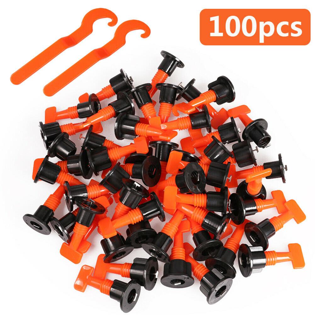 100pcs/set Ceramic  Tile  Leveling  System Kit Reusable Flat Bottom Ceramic T-lock Locator Gasket Tool 100pcs household orange ceramic tile leveling locator + adjusting wrench