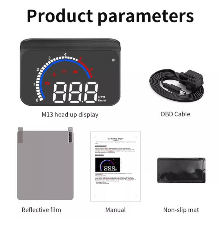 OBD HUD M13 car head-up display Auto Electronics Hud windshield Projector Speed water temperature display black