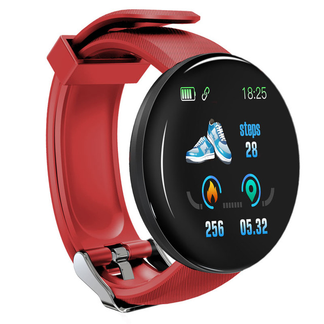 D18 Fitness Watch Smart Bracelet Heart Rate Monitor Blood Pressure Blood Oxygen Measurement Healthy Life Sleep Tracker for iOS Android Phone red