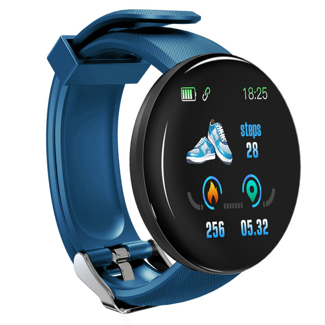 D18 Fitness Watch Smart Bracelet Heart Rate Monitor Blood Pressure Blood Oxygen Measurement Healthy Life Sleep Tracker for iOS Android Phone blue
