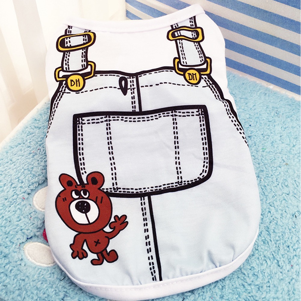 Cute Pet Vest Dog Cat Apparel Clothes with Overalls Design for Spring & Summer 5 Sizes for Choice Light blue_L