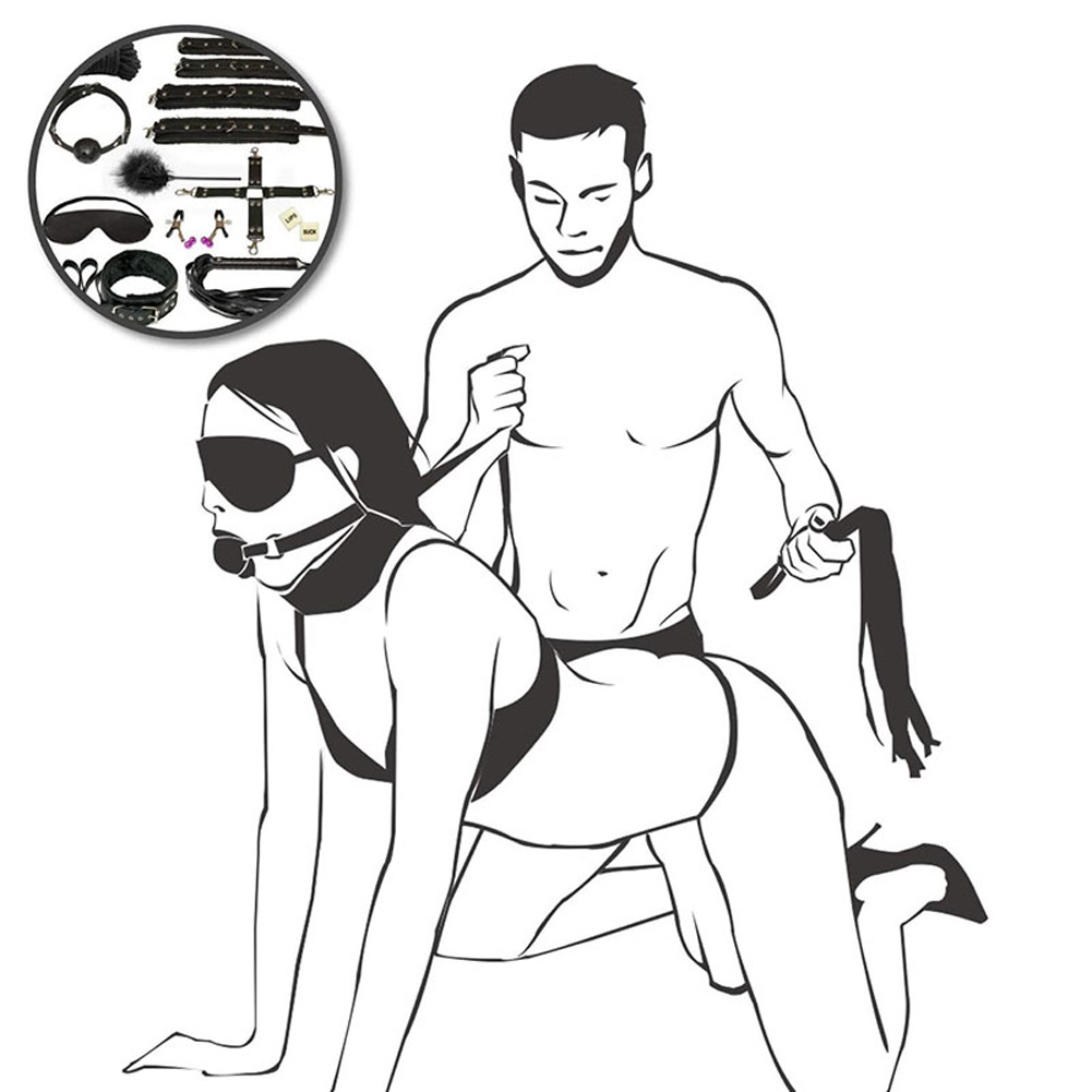 12pcs/set Couples Bondage Sex Toy Bondage Cuffs for Beginners and Pro black