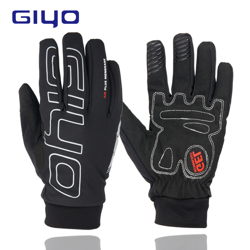 GIYO Man Winter Cycling Gloves Warm Fleece Full Finger Glove Bicycle Waterproof Windproof Motorcycle Gloves  ski gloves_M
