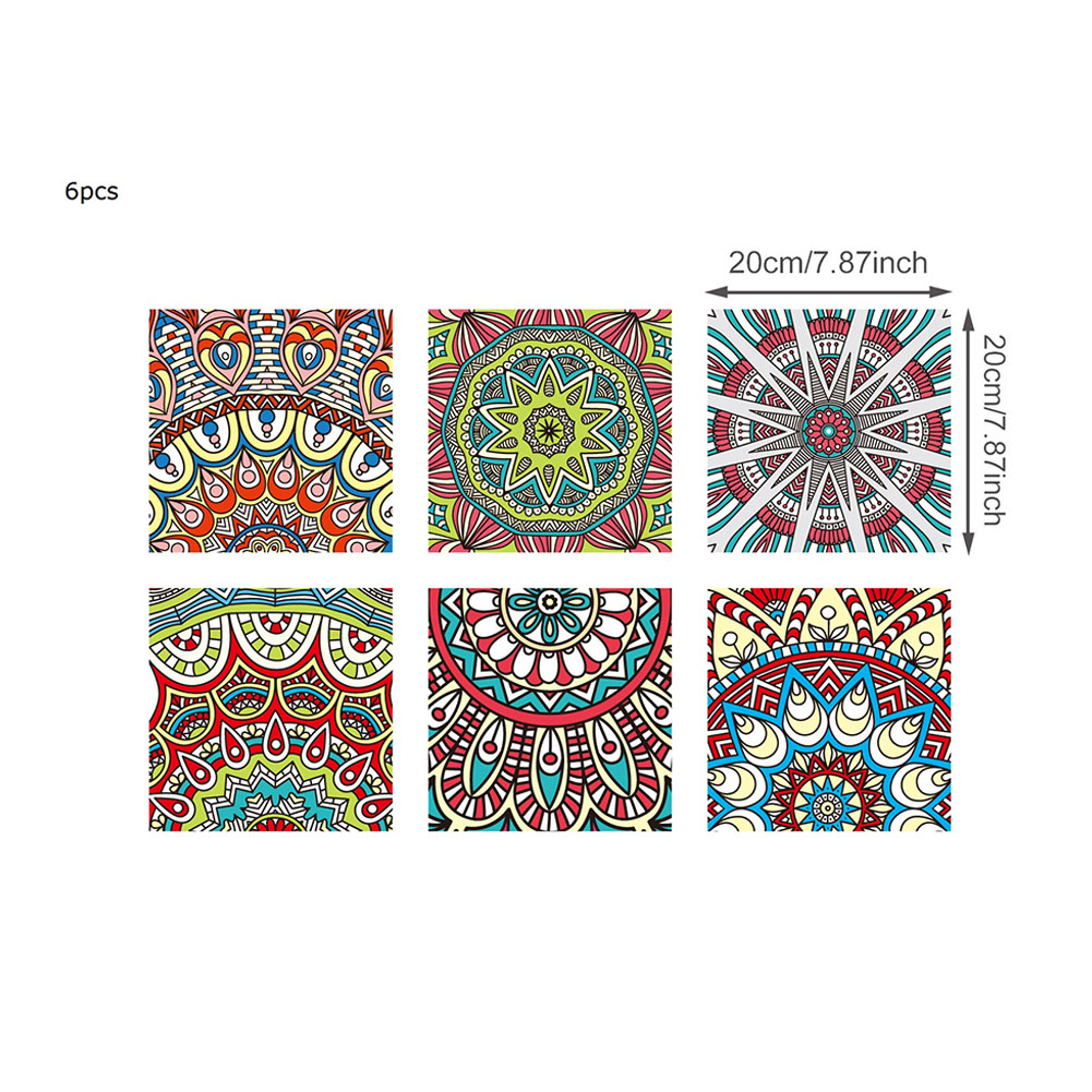 6Pcs 20*20cm Retro Pattern Waterproof Oilproof Simulate Tile Sticker for Kitchen Bathroom As shown