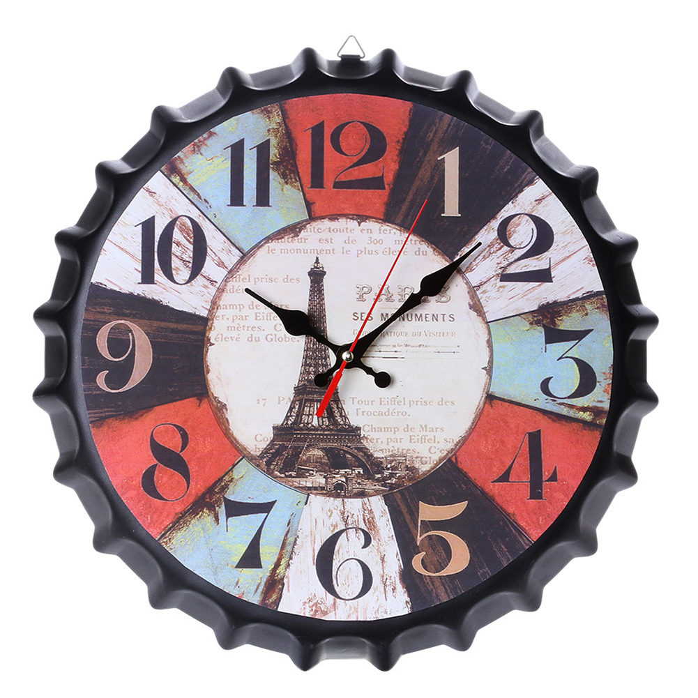 Metal Retro Bottle Cap Mute Wall Clock  Beer Bottle Cover Wall Clock Home Decoration Self-provided 1 AA Battery style 1
