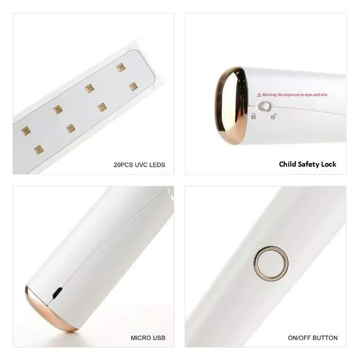 [US Direct] 59S UV Light Sanitizer Portable Sterilizing Wand, Folding UV Lamp Sterilizer for Hotel, Household, Car, Pet Area with 20 UV LEDs (X5) White
