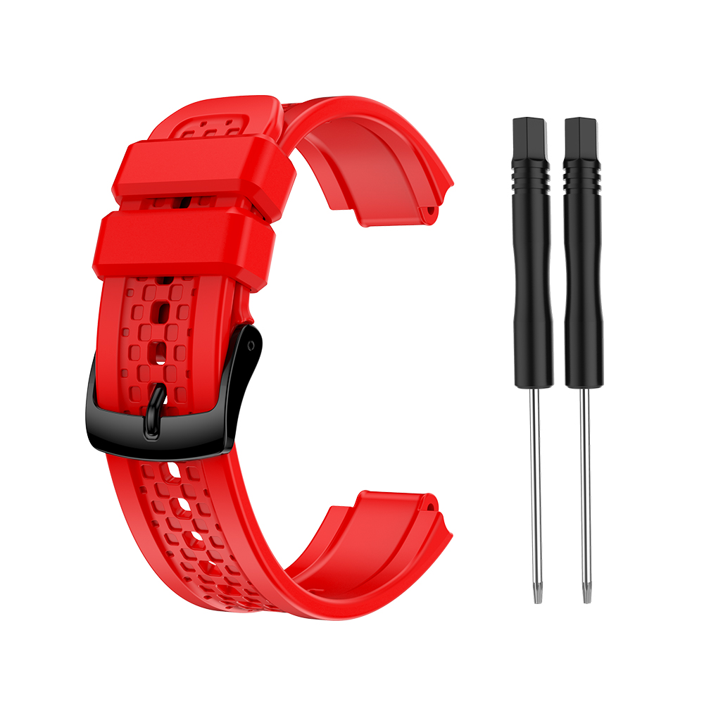 Women's Silicone Wristband Large Size Replacement Wristband for Garmin Forerunner 25 red